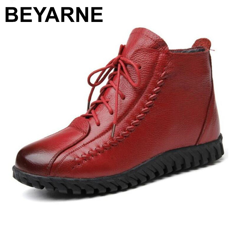 100% natural full genuine leather boots for women shoes wool warm snow boots 2018 fashion winter women boots non slip flat boots BEYARNE New Warm comfortable fur one wool shoes snow boots women boots fashion winter boots cow leather shoes non-slip flat