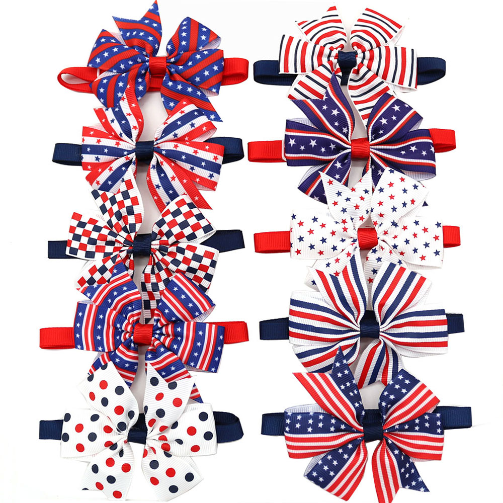 50pcs American Independence Day Dog bowties font b Pet b font Dog hair bows Bow ties
