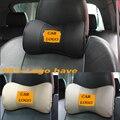 Assento de carro pescoço travesseiro Auto logo couro Genuíno encosto de cabeça do carro almofada de descanso de travesseiros de carro para kia para a vw para a bmw e para o benz skoda