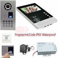 Видеодомофоны для квартиры отпечатков пальцев и код разблокировки IP Водонепроницаемый телефон видео домофон CCD 700TVL Камера домофона компле