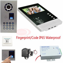 Video Intercom For The Apartment Fingerprint&Code Unlock IP Waterproof Video Door Phone Intercom CCD 700TVL Camera Doorphone Kit
