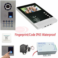 Video Intercom For The Apartment Fingerprint&Code Unlock IP Waterproof Video Door Phone Intercom CCD 700TVL Camera Doorphone Kit