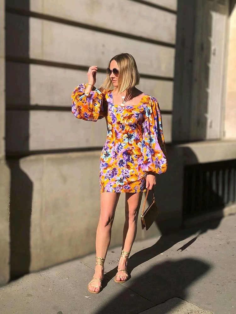 スタイリッシュなシックな花柄ルーズスリーブドレス Za 2019 エレガントな女性スクエア襟ミニドレス