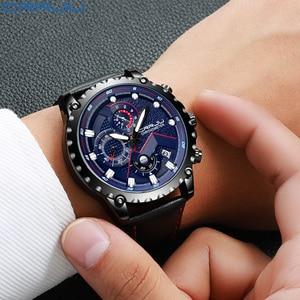 Image 3 - New Fashion Sports Quartz Men Watches CRRJU Relogio Masculino Clock Mens Top Brand Luxury Military Leather Waterproof Watch men