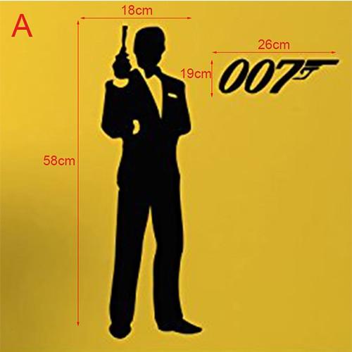 James Bond Wall Decal Wall Vinyl Sticker Secret Agent 007 Interior Home Art Wall Murals Bedroom Home Decor