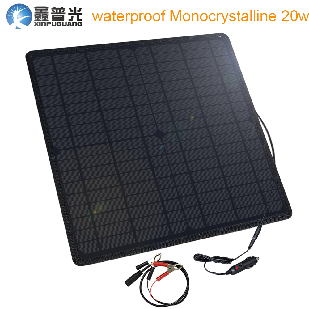 Xinpuguang étanche panneau solaire cellule 20 W 18 V/5 V Mono chargeur de voiture pour Camping en plein air alimentation d'urgence allume-cigare chargeur solaire batterie pour telephone portable panneau flexible usb