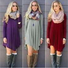 Fashion Clothes vestidos Women 2016 Autumn Winter Dress Female Cotton O neck Long Sleeve Mini Woolen