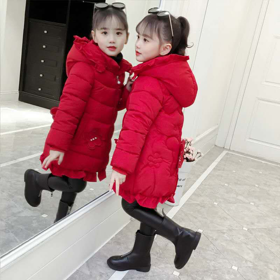 For 100cm-150cm Thick Winter Kids Girls Coat Winter Warm Children's Parkas Cotton Girls Clothing Down Cotton Padded Clothes