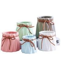 Vasos de flores artificiais cerâmicos carnudos vasos de flores secas cerâmica artesanato ornamentos decoração para casa acessórios modernos|Vasos|   -