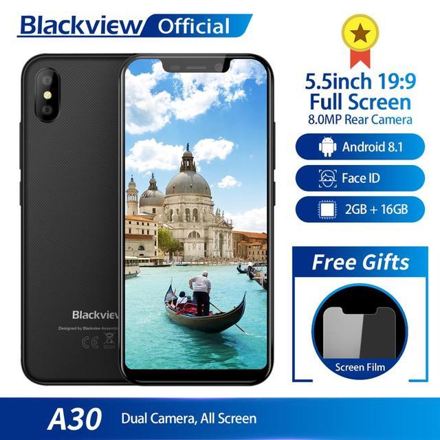 Blackview A30 Smartphone 5,5 pulgadas 19:9 Pantalla Completa MTK6580A Quad Core 2 GB + 16 GB Android 8,1 Dual SIM 3G Face ID teléfono móvil