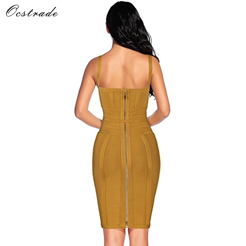 Ocstrade Women Bandage Dress 19 Rayon Sleeveless Summer New Arrivals Sexy Deep v Neck Vestido Bodycon Bandage Dress Club Party 11