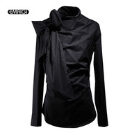 Men Bow Collar Long Sleeve Pullover Casual Shirt Fashion Male Punk Gothic Style Solid Slim Fit