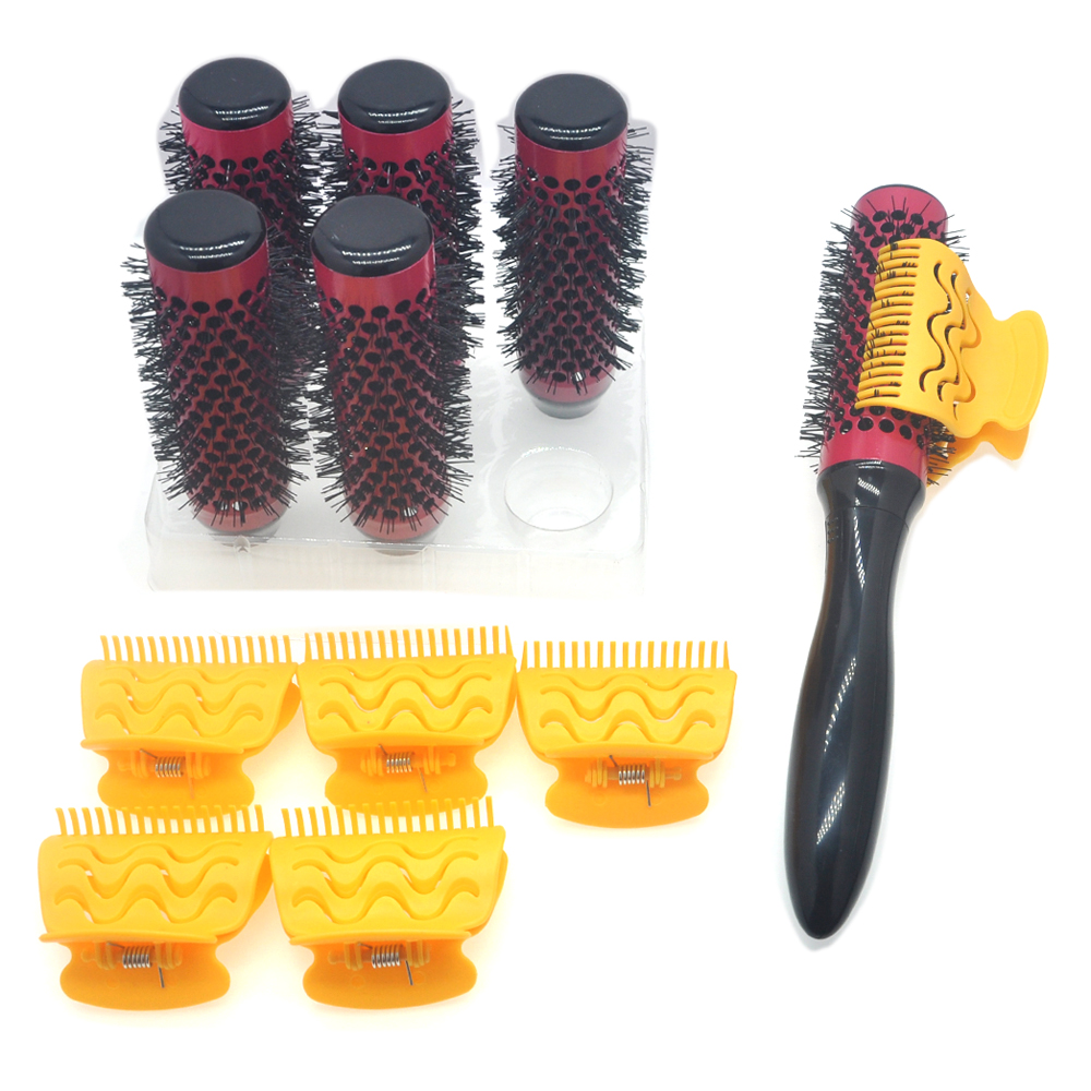 6pcs/set Hair Roller Brushes With Butterfly Clips Dedicated Handle Thermal Hairbrush Blowing Curling Hair Barrel Comb 34mm 1298