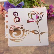 Cup Coffee Flower Sticker Painting Stencils for Diy Scrapbooking Stamps Home Decor Paper Card Template Decoration Album Crafts merry christmas trees sticker painting stencils for diy scrapbooking stamps home decor paper card template decoration album