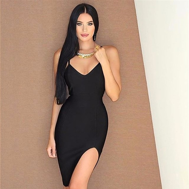 d19afa216b5 4 Colors Sexy Strap V Neck Green Black Red Nude Bandage Dress Ladies Charming  Party Dress
