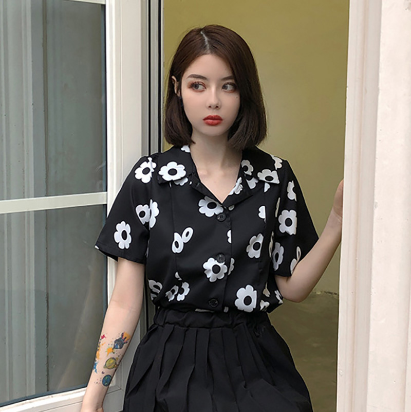 2019 womens tops and blouses Retro Summer Chiffon Flower Print Slim Short Sleeve Lapel Single Buckle Casual Blouse in Blouses amp Shirts from Women 39 s Clothing