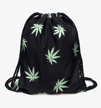 Black Weed 3d Printing Drawstring Bags Who Cares Brand Women Backpack Mochilas MenTravel Bag School Bags for Teenagers Sac A Dos