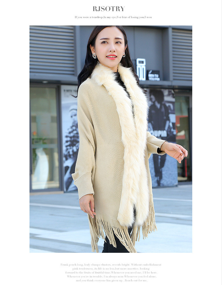 Faux Fur Collar Shawl Cardigan Tassel Winter Warm Coat 56