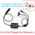 Phantom 4 Автомобильное Зарядное устройство и Пульт дистанционного управления Параллельный Зарядное Устройство 2 в 1 Зарядное Устройство Аксессуар для DJI Phantom 4
