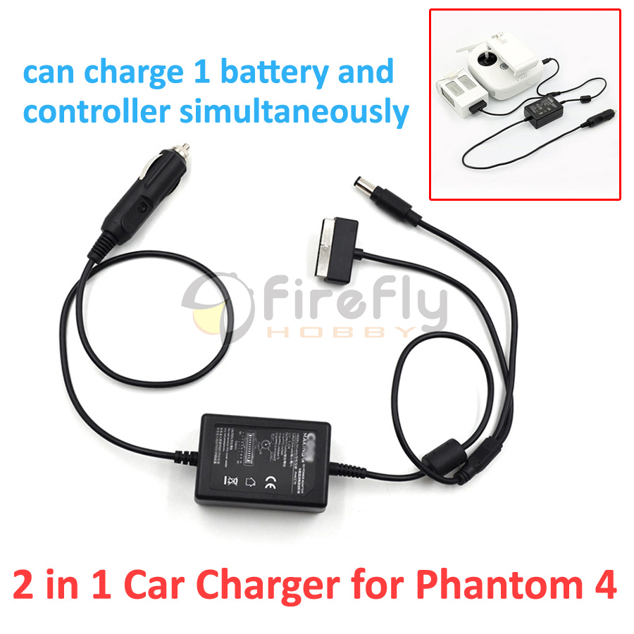 Phantom 4 Car Charger Battery & Remote Controller Parallel Charger 2 in 1 Charger Accessory for DJI Phantom4