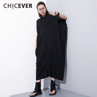 CHICEVER 2018 Vintage Dress Female O Neck Short Batwing Sleeve Plus Size Striped Summer Dresses For