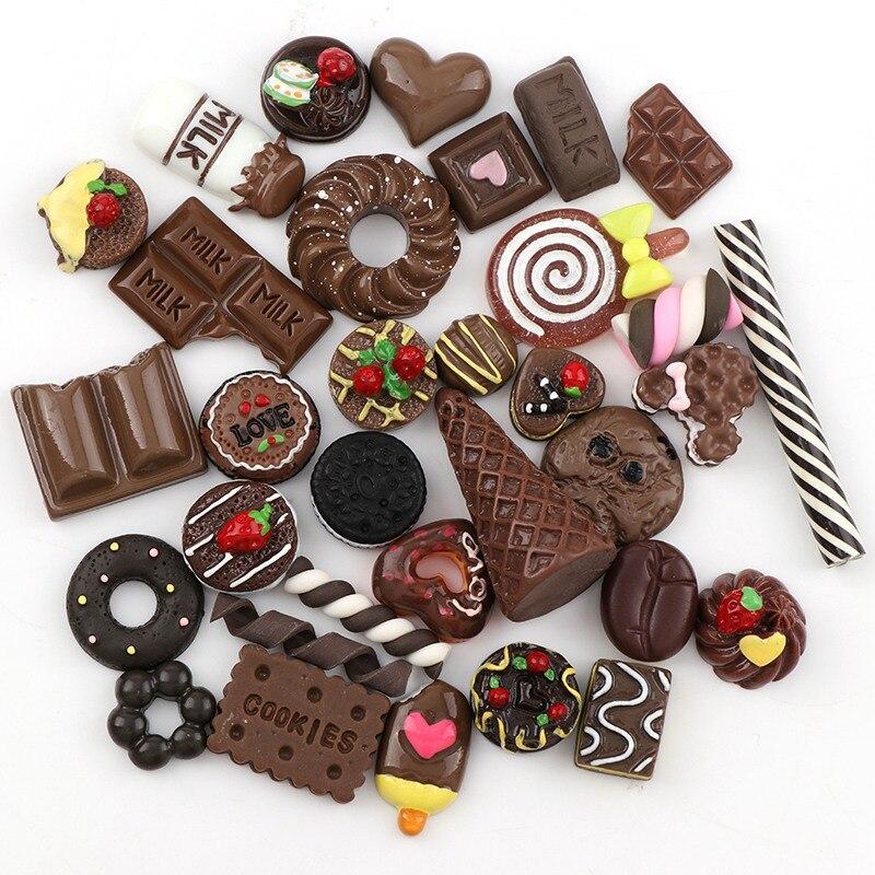 Mix Designs 20pcs Chocolate Color Dessert Cartoon DIY Resin Flatback Cabochon Lucky Bag DIY Phone Case Beauty
