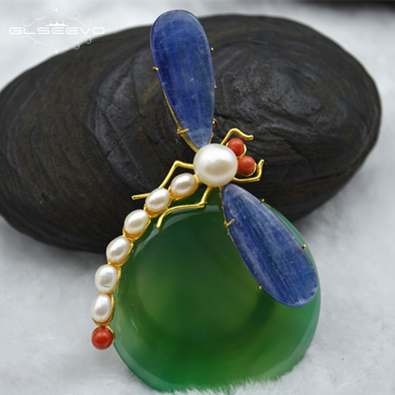 GLSEEVO Dragonfly-Brooch Kyanite Pearl Fine-Jewelry Natural Women Agate for Pins And