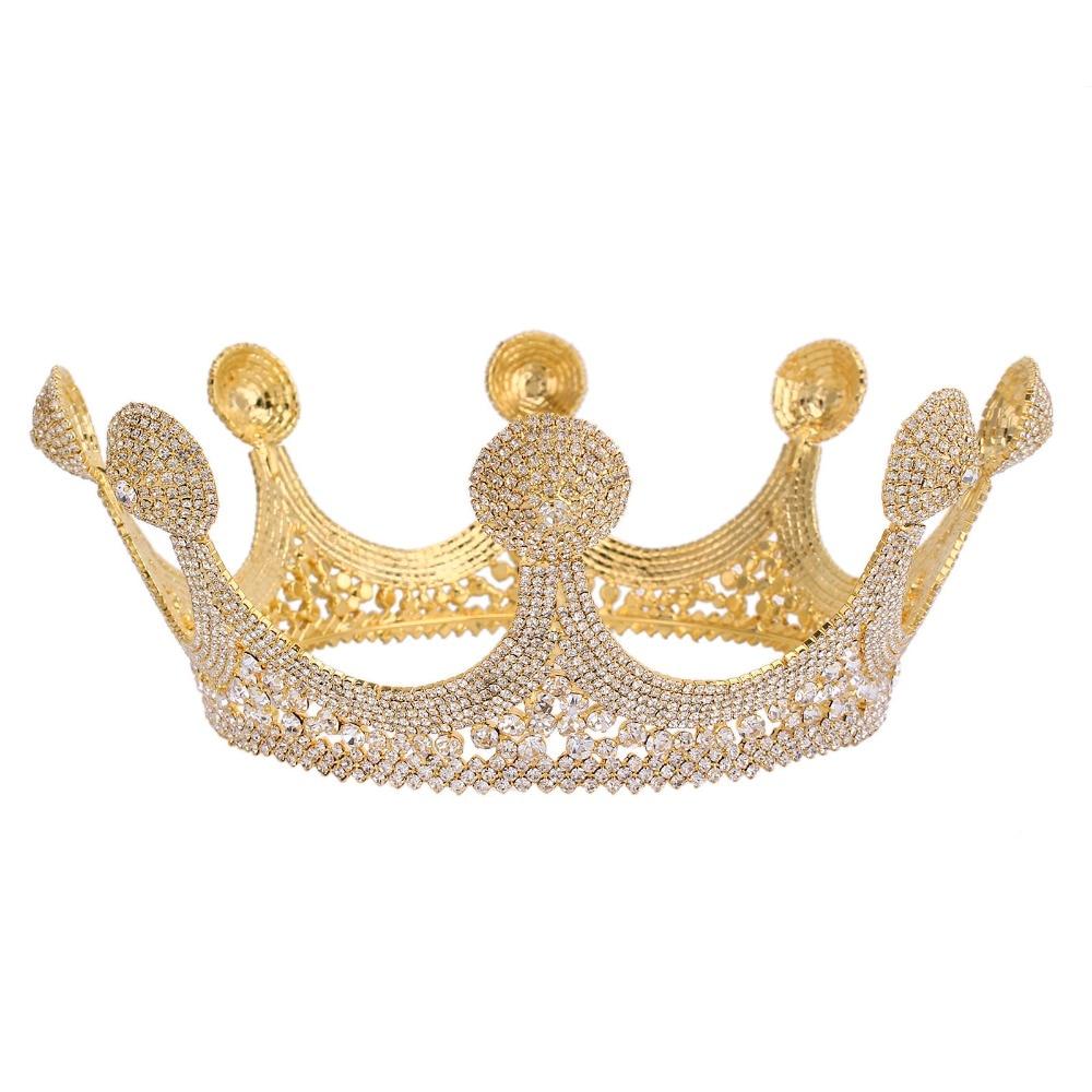 Mariée Or Cristal Diadème et Couronnes Roi De Mariage De Cheveux De Mariée Accessoires Bijoux De Mariage De Princesse Couronne