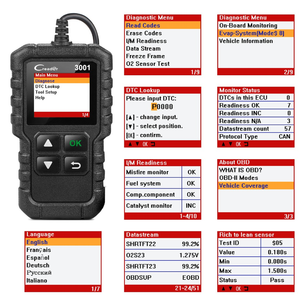 LAUNCH X431 CR3001 Full OBD2 Scanner OBD 2 Engine Code Reader Creader 3001 Car Diagnostic tool LAUNCH X431 CR3001 Full OBD2 Scanner OBD 2 Engine Code Reader Creader 3001 Car Diagnostic tool PK CR319 AD310 ELM327 Scan tool
