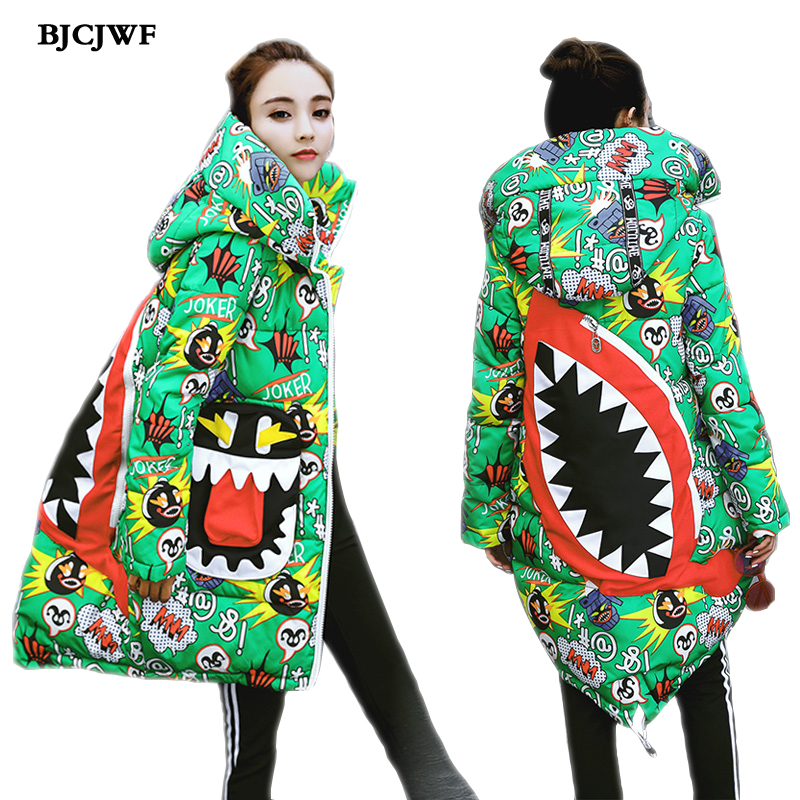 2017 Latest Women Jacket Winter Female Print Coat With Hooded Cotton Padded Parkas Brand Woman winter