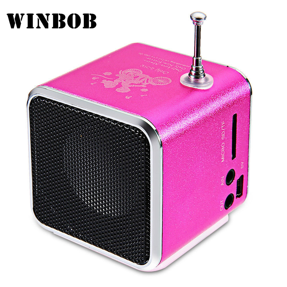 WINBOB TD-V26 Aluminium Digita linternet radio FM receiver SD TF USB Play Stereo Altavoz mini Speaker portable FM radio V26RDH td v26 portable mini 1 0 lcd speaker w mp3 fm radio deep pink black