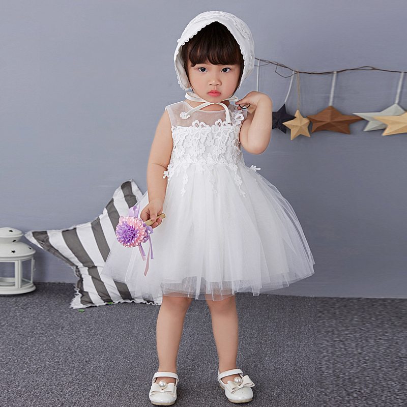 Lace Flower Baby Girls Wedding Dress Todder Girls Christening Gown for Party Occasion Kids 1 Year Infant Girl Birthday Dress