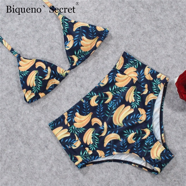 4eb6a9247db US $10.03 30% OFF| 2018 Floral Banana Bikini Set Women Swimwear Sexy Push  Up Swimsuit Beach Print High Waist Bathing Suit Lady Padded Biquini BYJ-in  ...