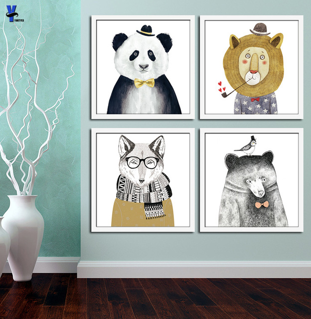 triptych watercolor nordic animal lion bear panda a4 art prints poster hipster wall picture canvas painting kids room home decor