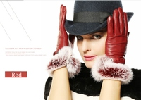 New Luxury Italian Soft Nappa Leather Glove For Women With 100% Rabbit Cuff Glove Red Brown Black 1 Pair/Lots