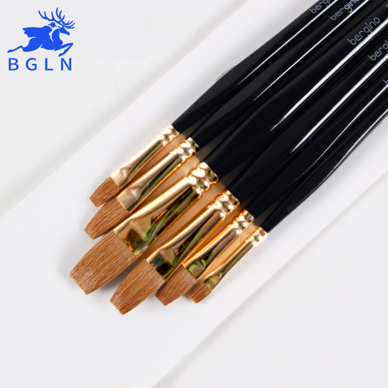 BGLN 6Pcs/Set Super Quality Weasel's Hair Flat Paint Brush For Acrylic Oil Gouache Artist Painting Brushes Art Supplies 703A free shipping 6pcs odd numbers artist wolf horse hair paint brush set acrylic oil painting watercolor art supplies