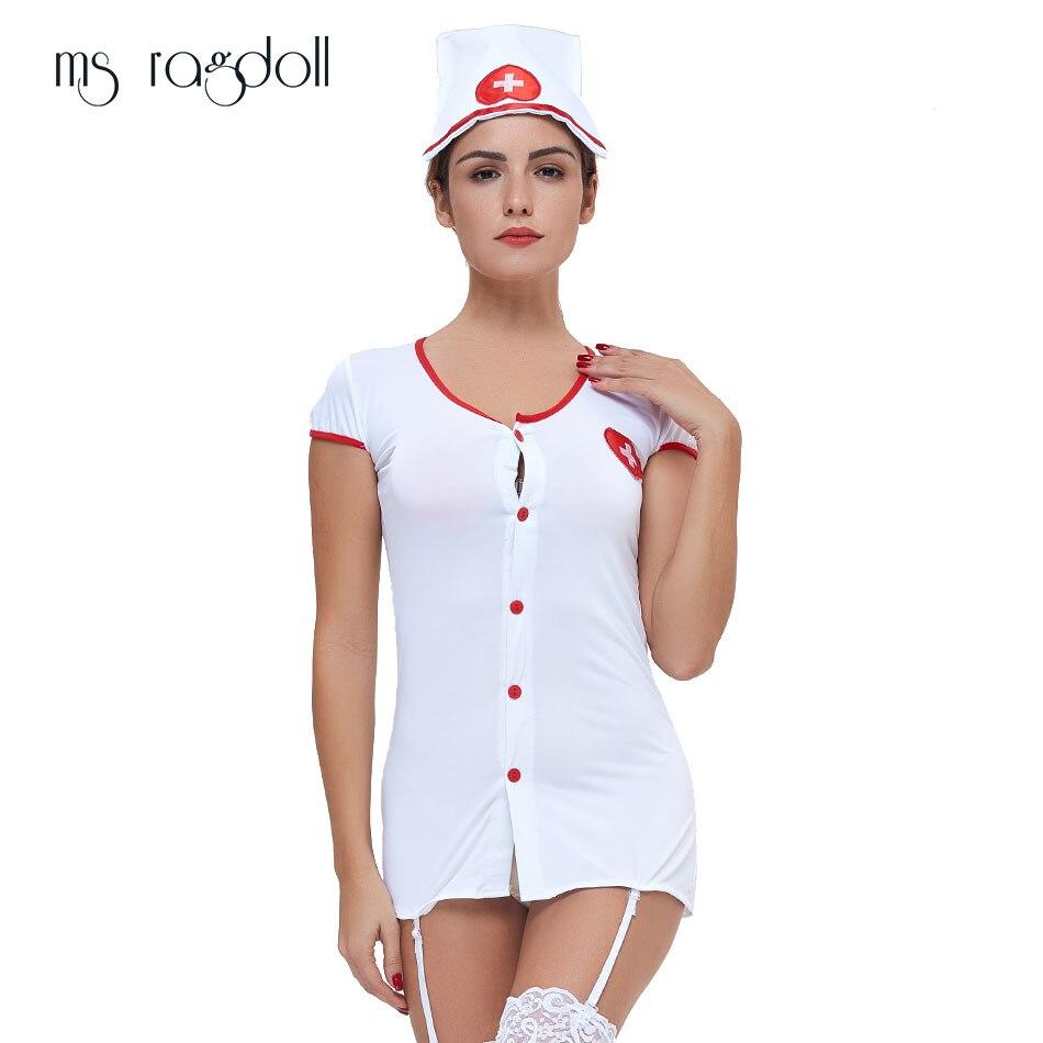 204527d7e13b Nuevos disfraces de lencería erótica Sexy para mujer juegos de ropa  interior Undeardress blanco Cosplay enfermera uniforme tentación 2019