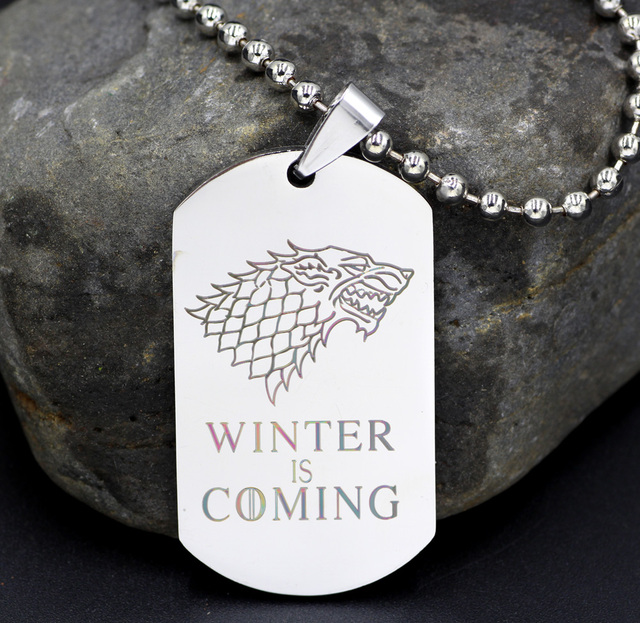 Game of Thrones Winter is Coming Stainless Steel Military Pendant