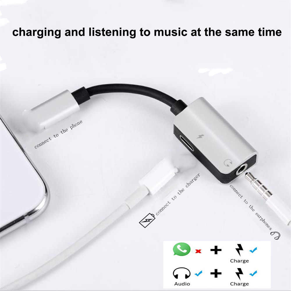 Audio Adapter for iPhone 7 3.5mm Aux Jack Headphone Earphones Audio Splitter Cable Charging Music for iphone X XS Max XR 8 Plus