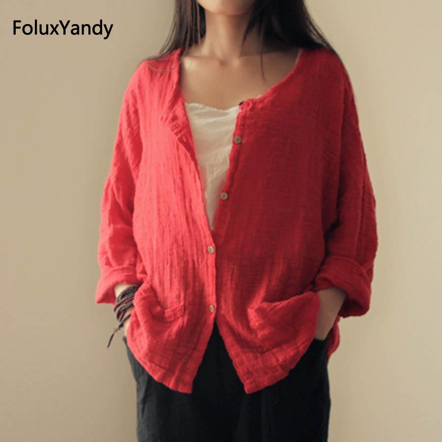 Cotton and Linen Vintage Blouse Women Plus Size Loose O-neck Long Sleeve Summer Blouse Shirt Red Black Khaki JYMM106