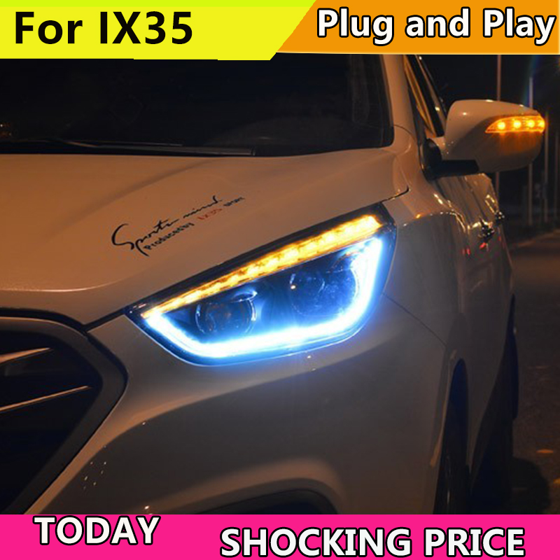 Style de voiture Lampe Frontale pour IX35 Phares Nouveau Tucson 2010-2015 phare LED LED DRL Bi Xénon Lentille Haute Faisceau Parking Brouillard Lampe