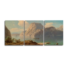 Laeacco 3 Panel Mountain River Wall Art Posters and Prints Nordic Home Living Room Decor Canvas Calligraphy Painting