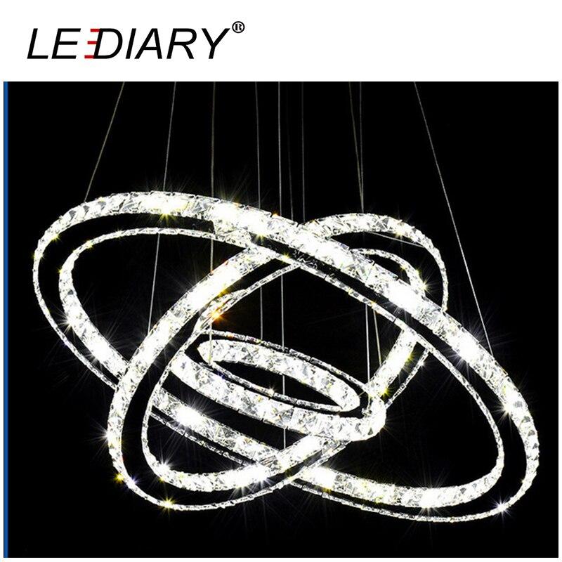 LEDIARY Modern Crystal Pendant Lamp Double Ring/3 Ring Circles Hanging Light Fixture Shape DIY Design Round Circle Lamp 3 Colors коляска marimex armel красный графит принт цветы