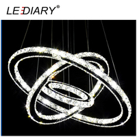 LEDIARY Modern Crystal Pendant Lamp Double Ring 3 Ring Circles Hanging Light Fixture Shape DIY Design