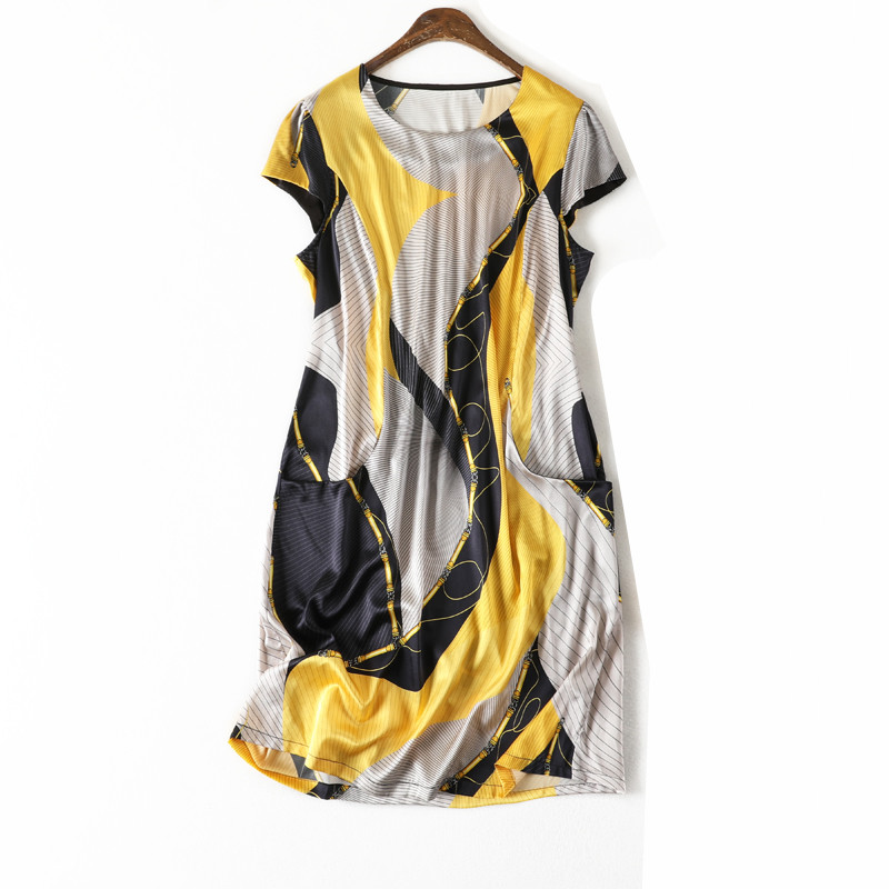 Women Summer Silk Dress O neck plus size Vintage Natural silk dresses Yellow Elegant Dress Casual holiday real silk dress