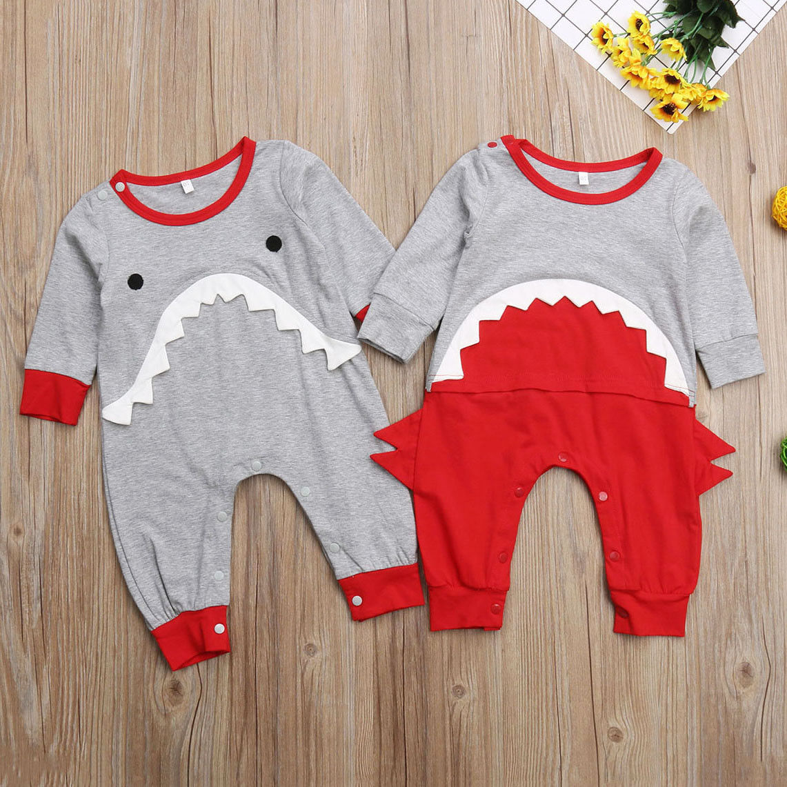 Babies Cotton Clothes Toddler Baby Boy Shark One-piece Romper  Jumpsuit  Clothing  Outfits 0-24M