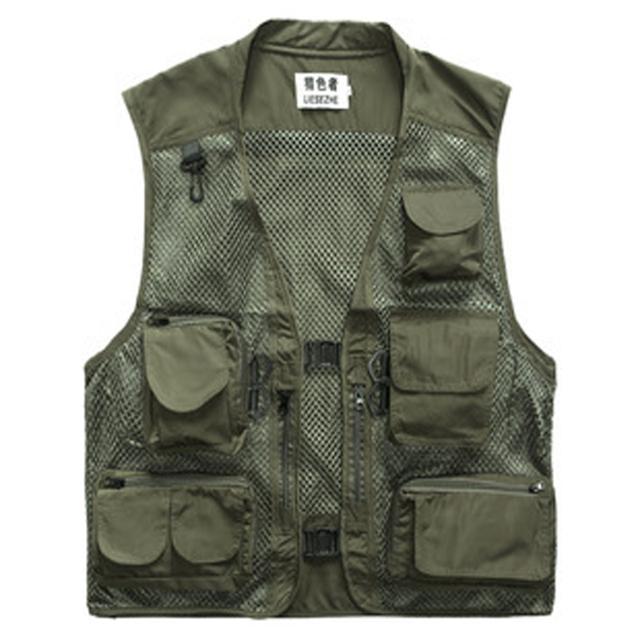 Hot!!! Men's Spring and Summer Mesh Multi-Pocket Vest Photography Vest for Men Vest XXXL Work Clothing Men