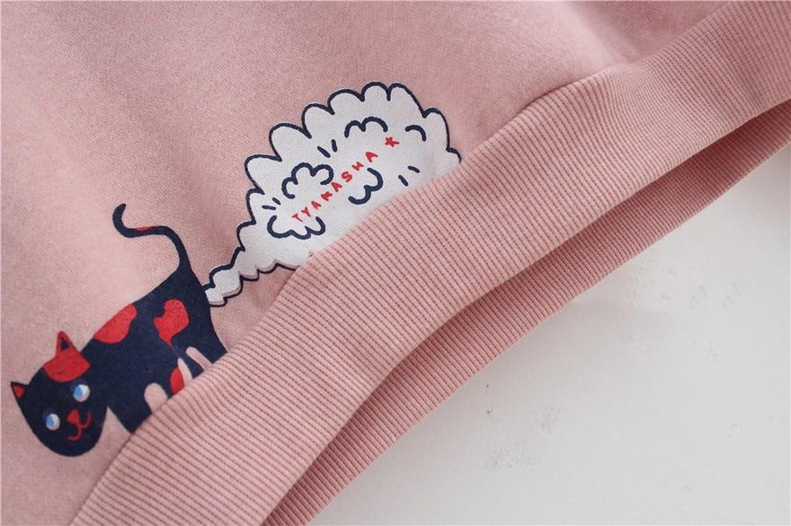 17 New Spring Autumn Sweatshirt Women Tops Plus Size Loose Casual Plus Thick Velvet Cartoon Cat Pattern Sweatshirts Pullovers 14