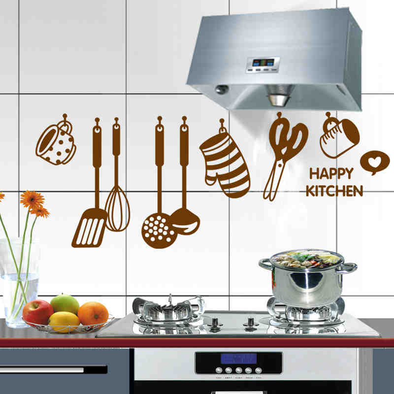 Restaurant Kitchen Utensils diy happy kitchenware wall stickers restaurant /kitchen /utensils