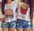 A forma Das Mulheres Verão Colete Top Irmã Tomar T-Shirt Ocasional de Manga Curta